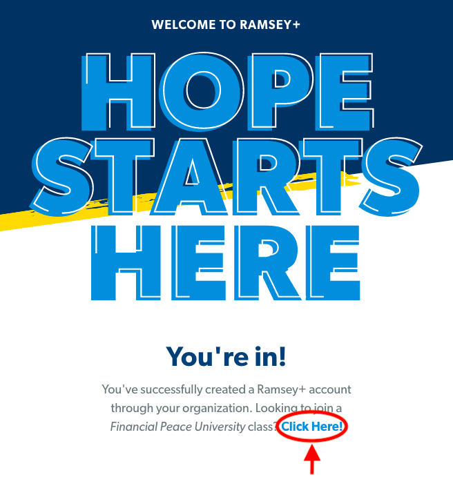 Hope Starts Here - Financial Peace University at NCC
